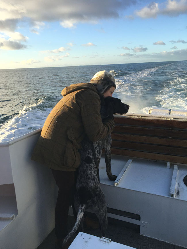 Pontus on the boat from Isle of Muck.