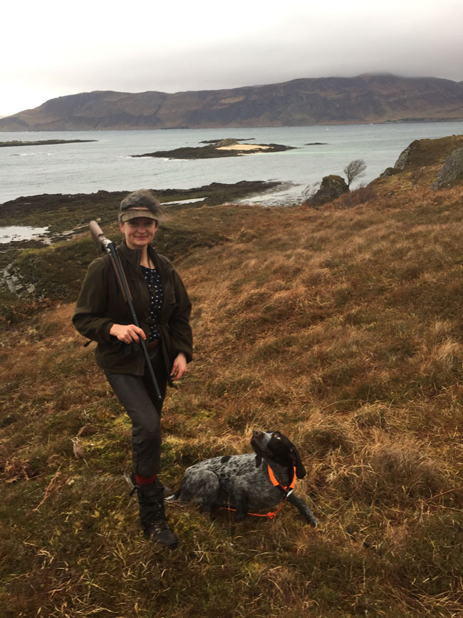 Looking for woodcock on Skye. Pontus looking for me.
