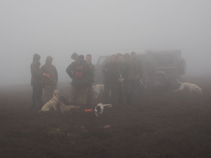 Beaters and flankers in the mist before a driven grouse shoot