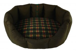 Easy Access Tuffies Nest Dog Bed in Durasoft Chocolate with a Tweed Luxury Fleece Nest Cushion Cover.