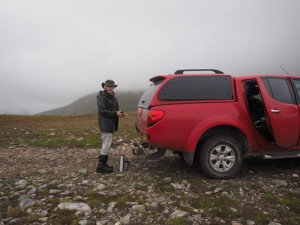 The cold truck and Anne at the top of Drummochter