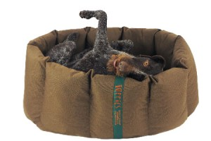 Happy dog on its back in nest dog bed
