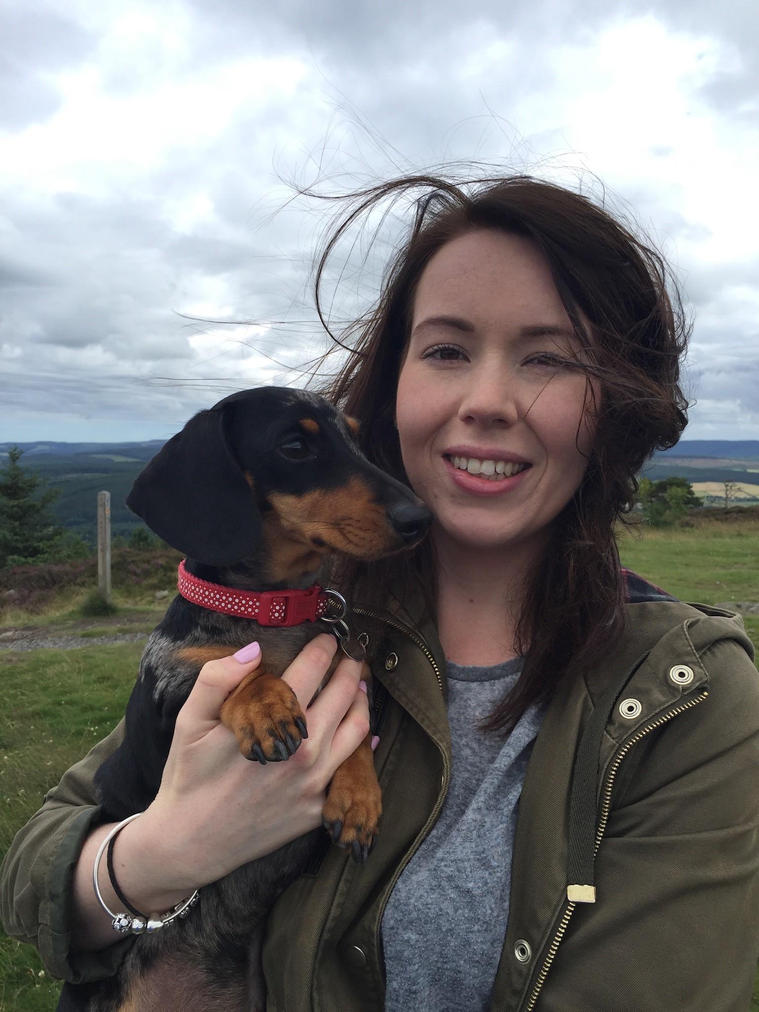 Dog Walker Jenna and her Dachshund Smudge