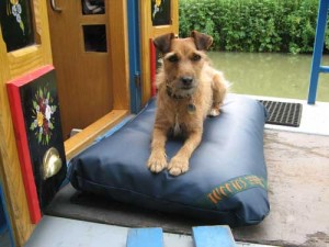 Poppy on her custom sized canal boat Tuffie