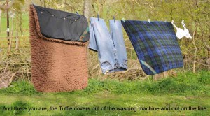 Tuffie covers on the clothes line