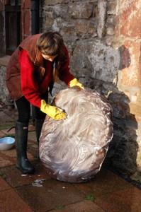 Washing the base cushion of the nest