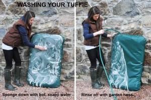 Lady washing and rinsing a Tuffie dog bed