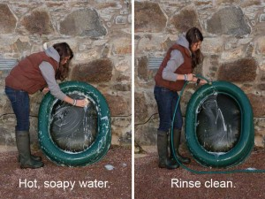 Lady washing a Really Tough Tuffie