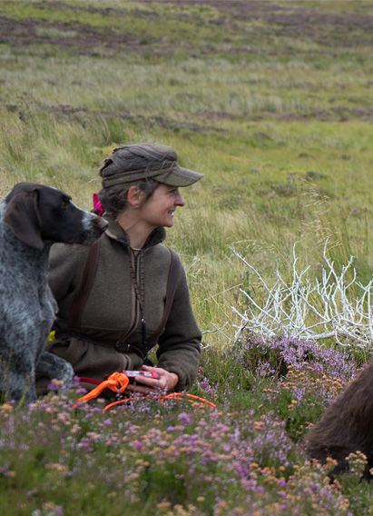 Luise on the moor with the pointers